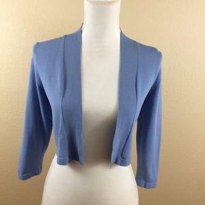 Ann Taylor Blue 3/4 Sleeve Shrug